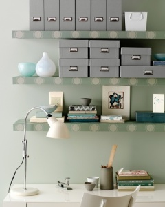 papered shelves